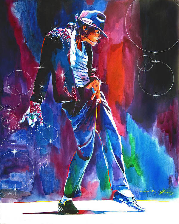Michael Jackson Poster featuring the painting Michael Jackson Action by David Lloyd Glover
