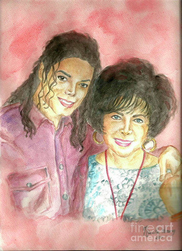 Michael Jackson Poster featuring the painting Michael Jackson And Elizabeth Taylor by Nicole Wang