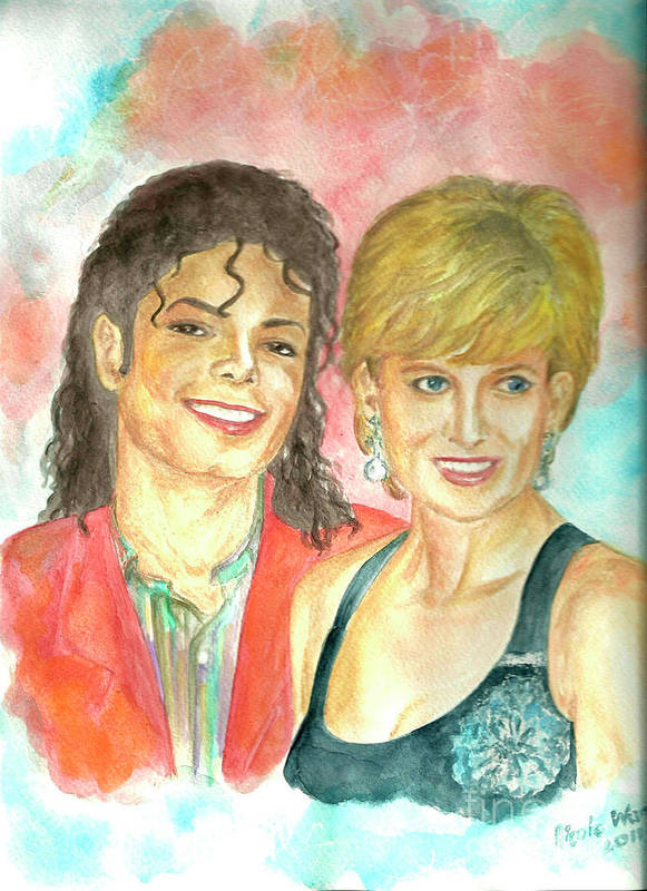Michael Jackson Poster featuring the painting Michael Jackson And Princess Diana by Nicole Wang