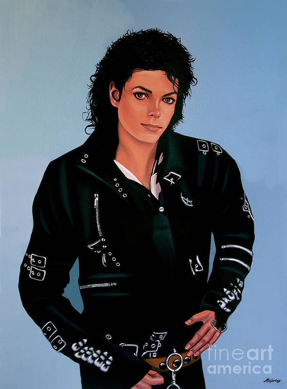 Michael Jackson Poster featuring the painting Michael Jackson Bad by Paul Meijering