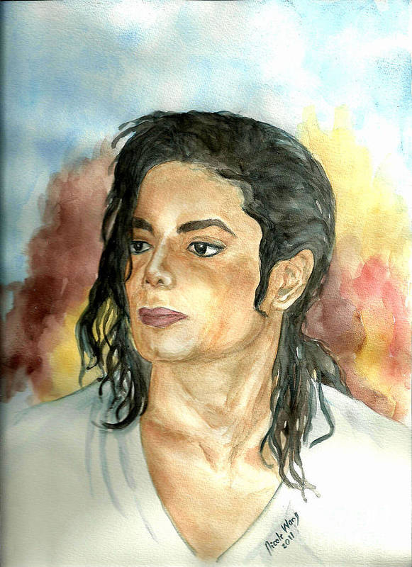 Michael Jackson Poster featuring the painting Michael Jackson Black Or White by Nicole Wang