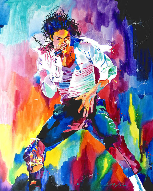 Michael Jackson Poster featuring the painting Michael Jackson Wind by David Lloyd Glover