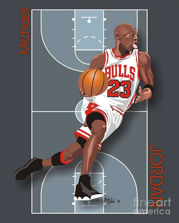 Portraits Poster featuring the digital art Michael Jordan, No. 23 by Walter Oliver Neal