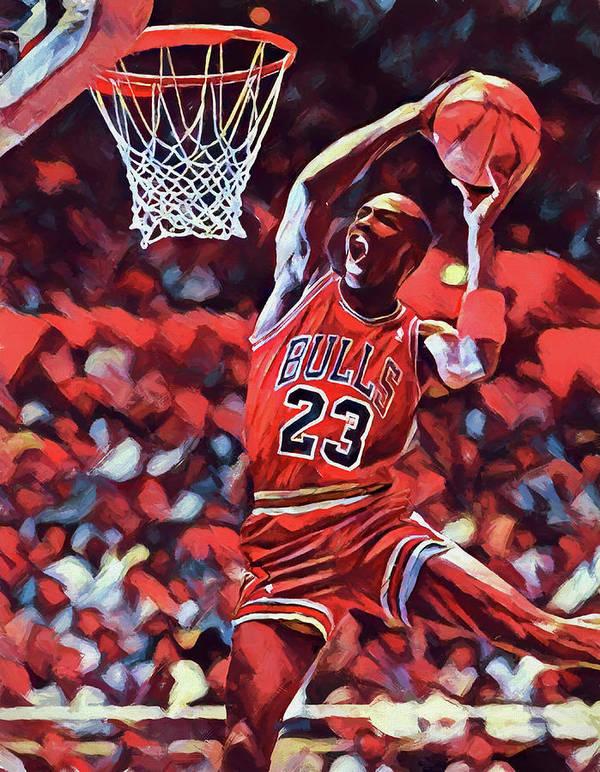 Michael Jordan Slam Dunk Poster featuring the painting Michael Jordan Slam  Dunk by Dan Sproul f3dd623388