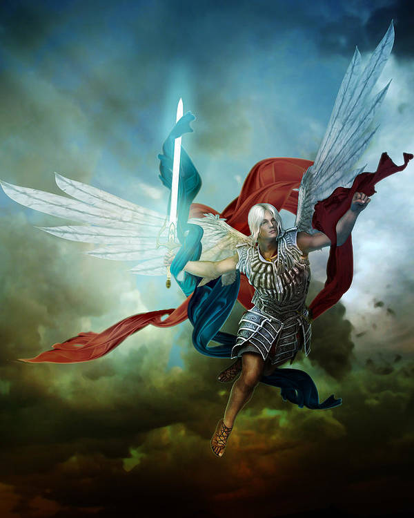 Arch Angel Poster featuring the digital art Michael by Mary Hood
