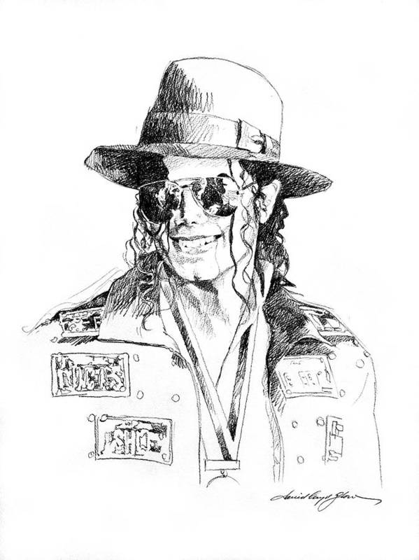 Michael Jackson Poster featuring the drawing Michael's Jacket by David Lloyd Glover