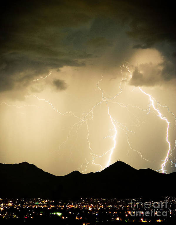 Arizona Lightning Storms Poster featuring the photograph Midnight Lightning Storm by James BO Insogna