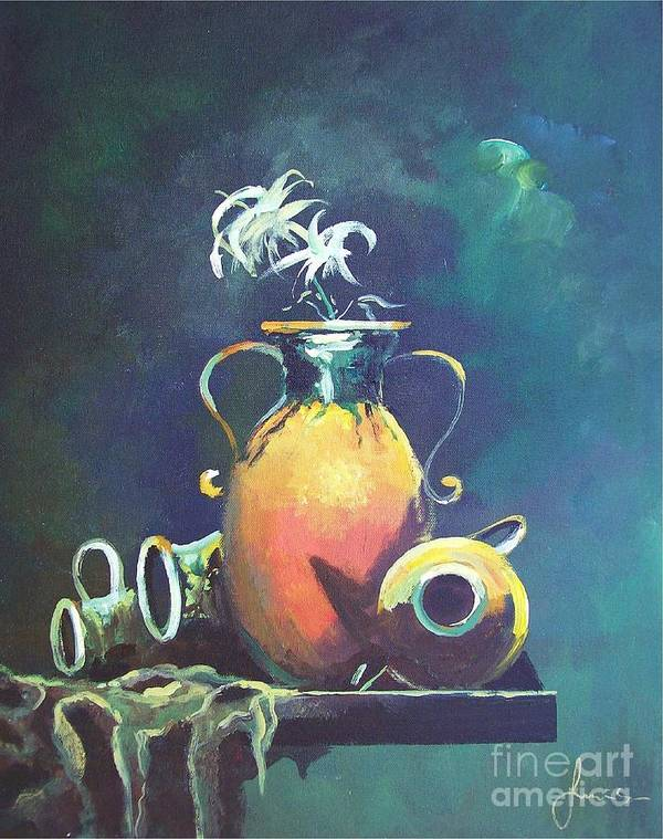Still Life Poster featuring the painting Midnight Moon by Sinisa Saratlic