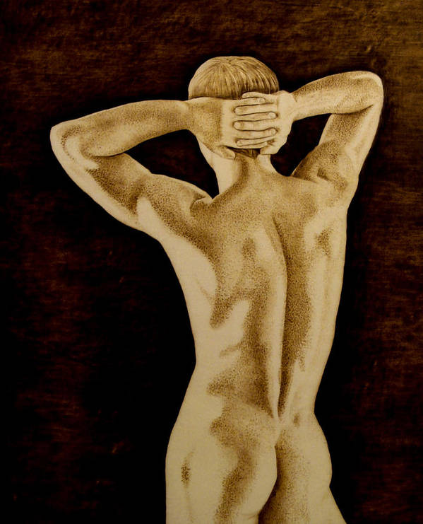 Pyrography; Sepia; Nude; Male; Back; Pointillism; Shadow; Hands; Naked; Muscles; Poster featuring the pyrography Midnight Stretch by Jo Schwartz