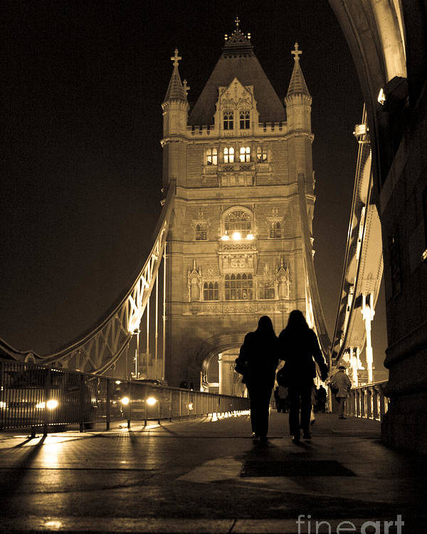 London Poster featuring the photograph Midnight Stroll Over The Bridge by Joshua Francia