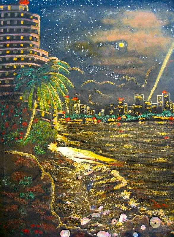 City Lights Poster featuring the painting Midnight Sun by V Boge