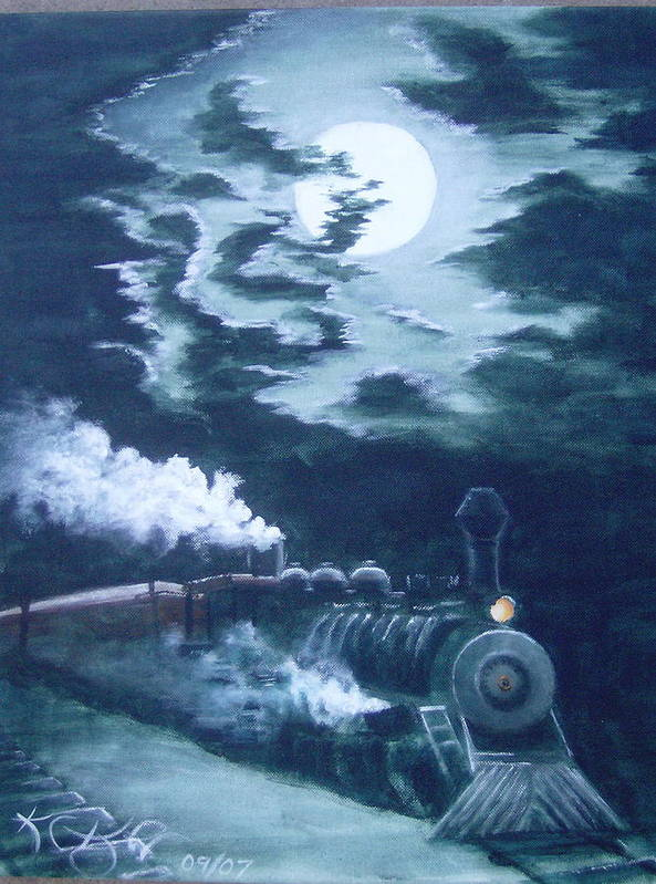 Landscape Poster featuring the painting Midnight Train by KC Knight