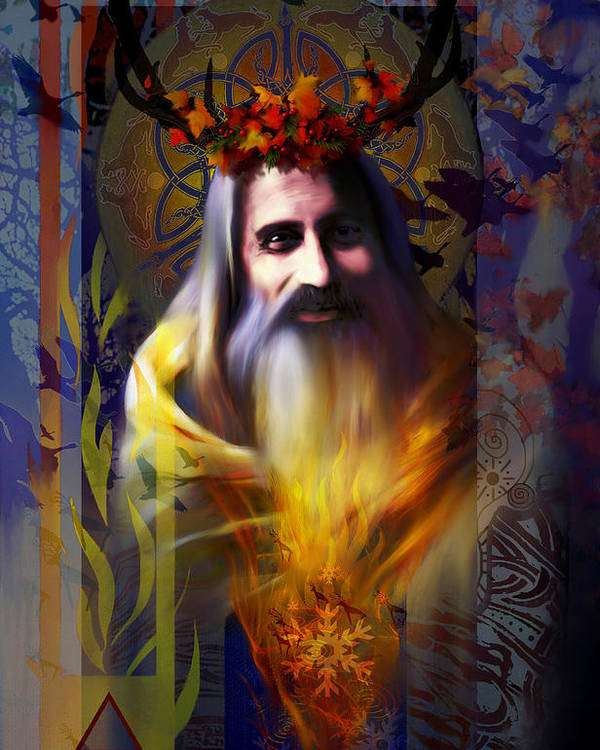 Wiccan Poster featuring the digital art Midwinter Solstice Fire Lord by Stephen Lucas