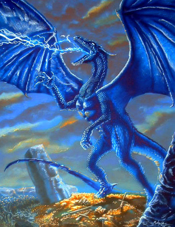 Dragon Poster featuring the mixed media Mighty Blue by Daniel Monroe