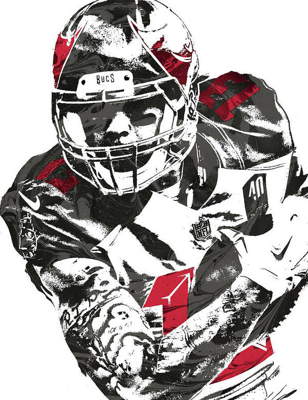 403c190b3 Mike Evans Poster featuring the mixed media Mike Evans Tampa Bay Buccaneers  Pixel Art by Joe