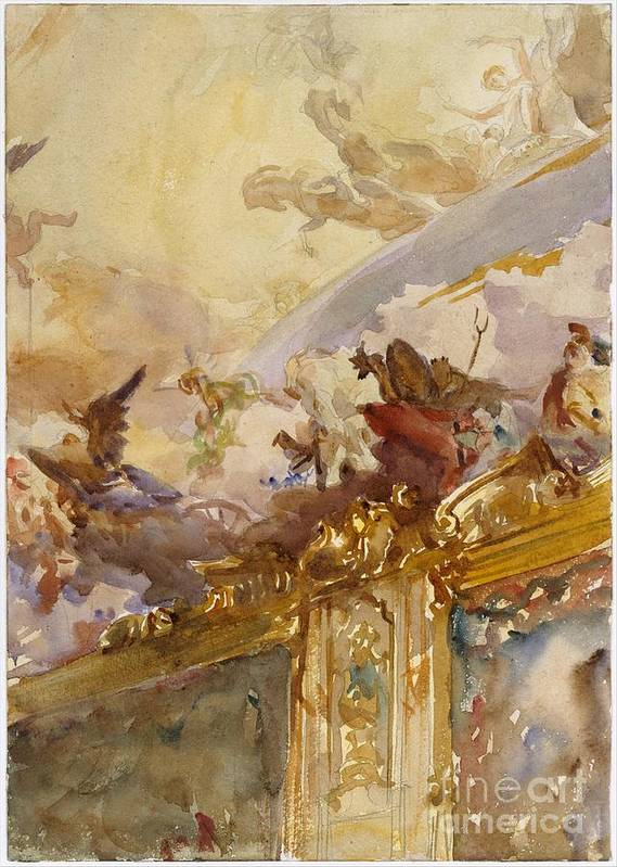 Tiepolo Ceiling Poster featuring the painting Milan by Celestial Images