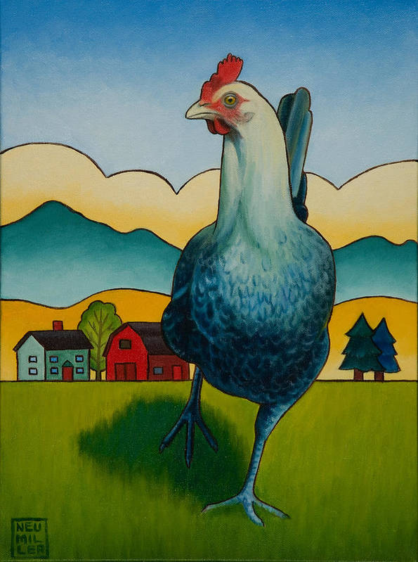 Hen Poster featuring the painting Mildred by Stacey Neumiller