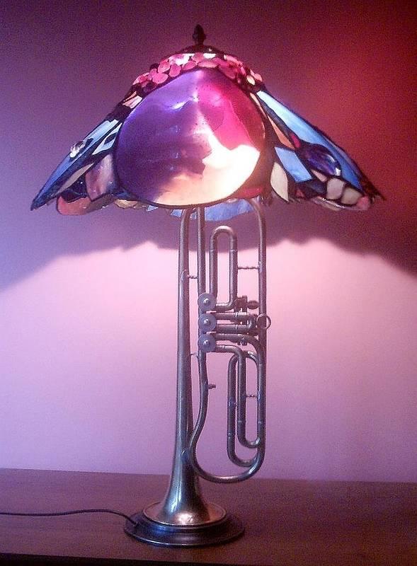 Lamp Poster featuring the glass art Miles Davis Lamp by Greg Gierlowski