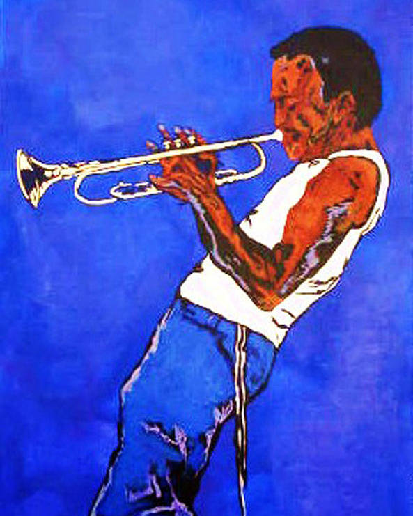 Miles Davis Paintings Poster featuring the painting Miles Davis-miles And Miles Away by Bill Manson