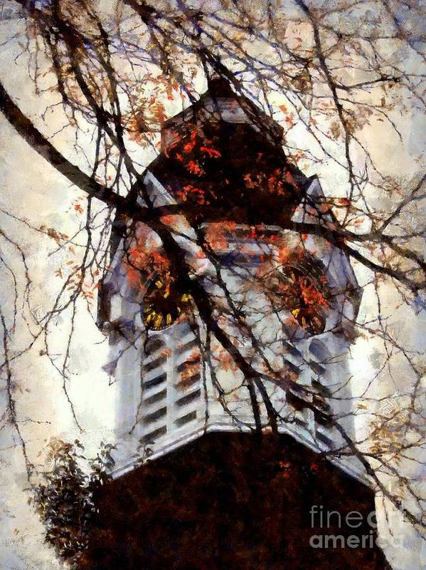 Clock Tower Poster featuring the photograph Milford Clock Tower Vintage by Janine Riley
