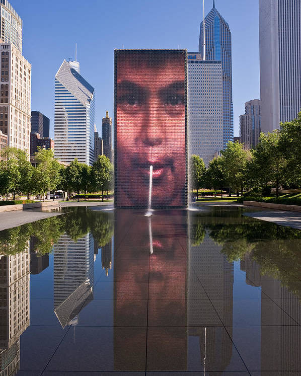 Art Poster featuring the photograph Millennium Park Fountain And Chicago Skyline by Steve Gadomski