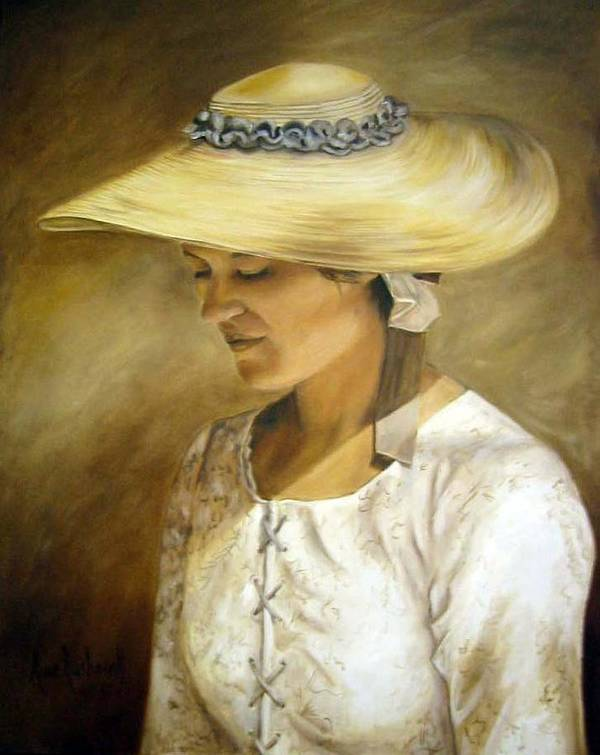 Portrait Poster featuring the painting Milliners Daughter by Anne Kushnick