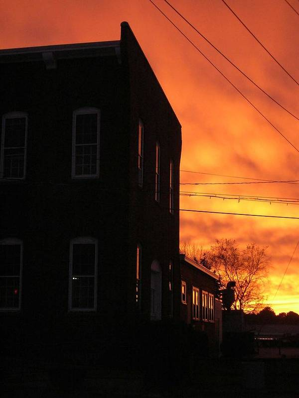 Orange Sky Poster featuring the photograph Millyard Sunset by Nancy Ferrier