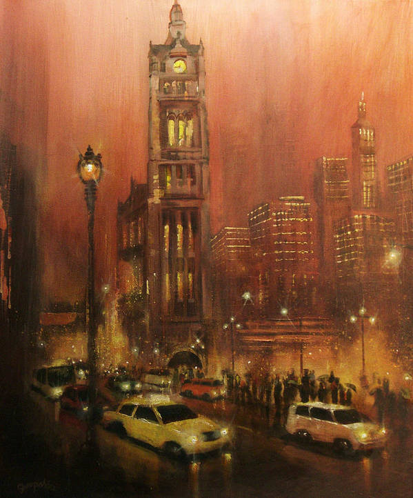 City At Night Poster featuring the painting Milwaukee City Hall by Tom Shropshire