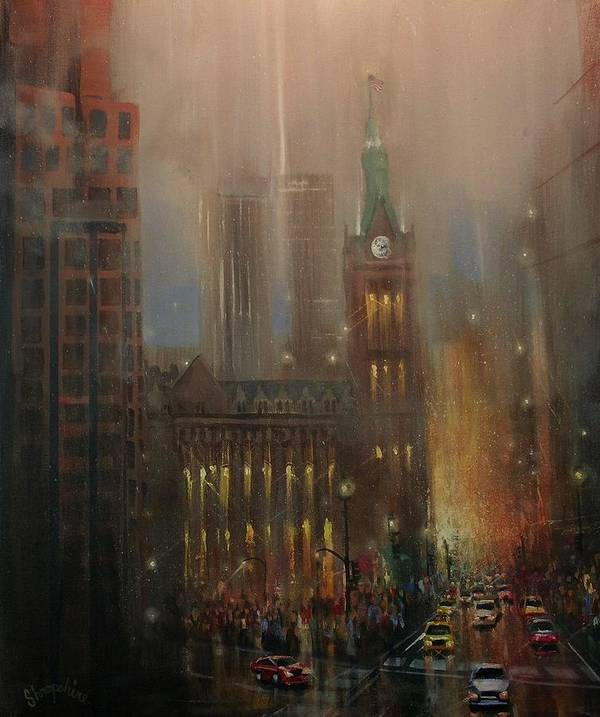 City At Night Poster featuring the painting Milwaukee Rain by Tom Shropshire