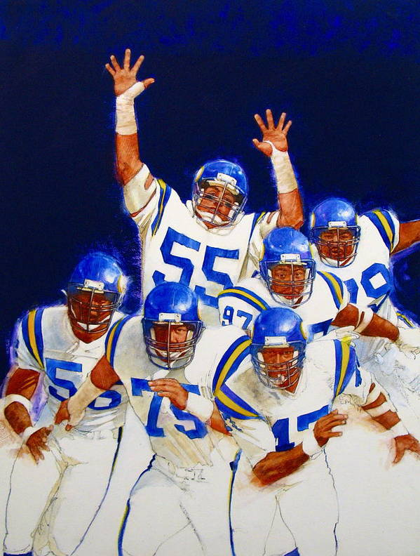 Acrylic Painting Poster featuring the painting Minnesota Vikings Front Four by Cliff Spohn