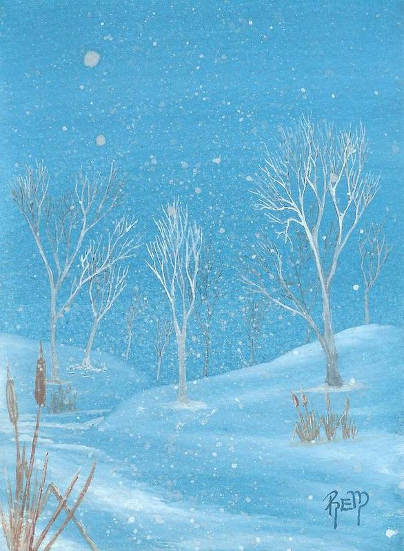 Landscape Poster featuring the painting Minnesota Winter... No. Two by Robert Meszaros
