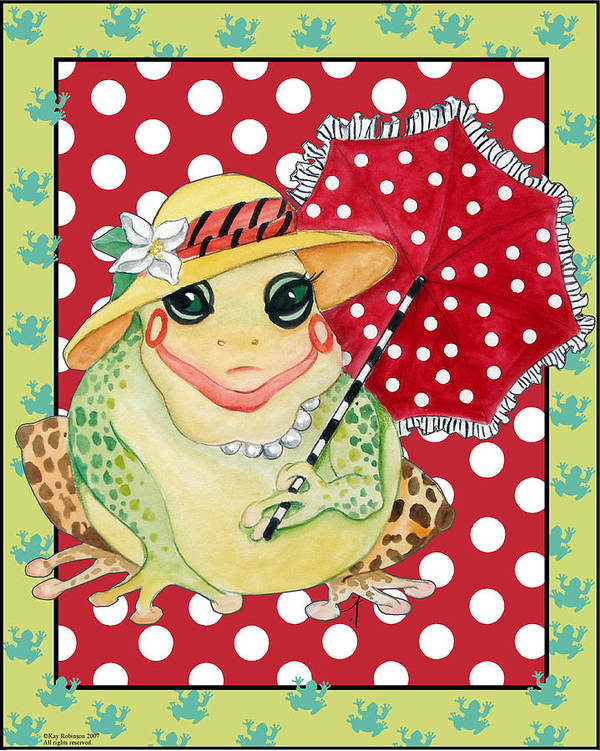 Animals Poster featuring the print Miss Belle Frog by Kay Robinson