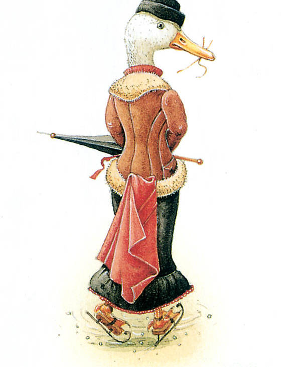 Duck Ice Skating Winter Christmas Greeting Cards Poster featuring the painting Miss Duck by Kestutis Kasparavicius