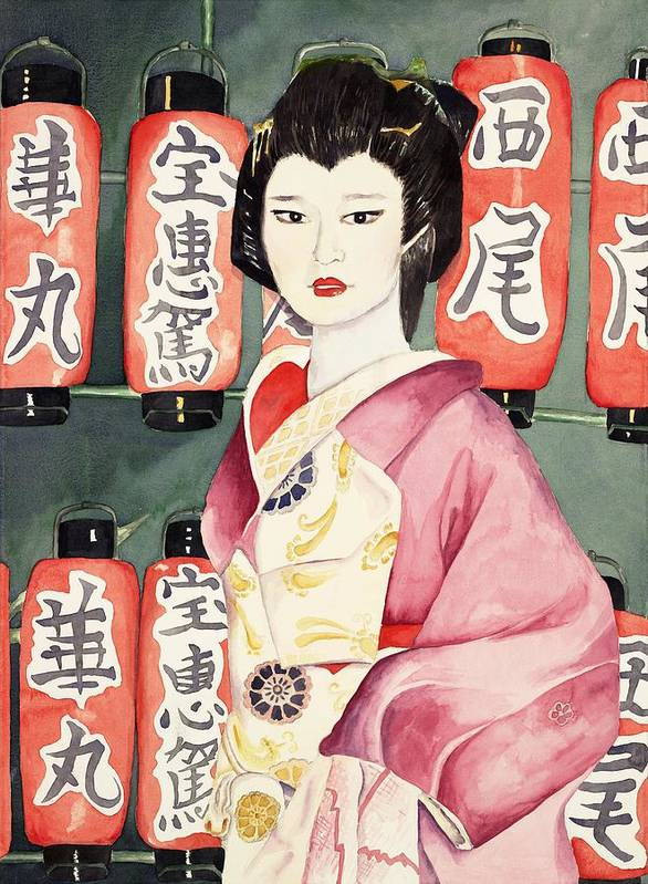 Geisha In Kimono With Red Lanterns Poster featuring the painting Miss Hanamaru At Osaka Festival by Judy Swerlick
