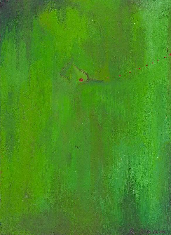 Abstract Poster featuring the painting Miss Kiwi Blows A Kiss by Ricky Sencion