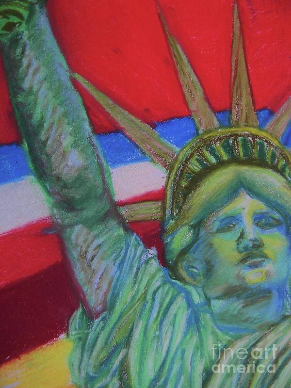 Statue Poster featuring the pastel Miss Liberty by Emily Michaud
