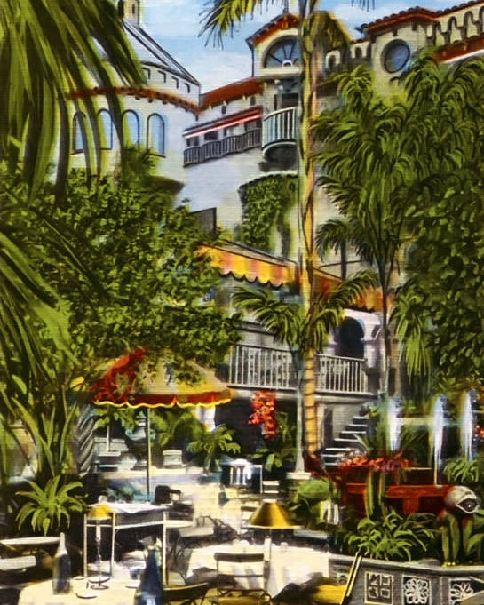 Spanish Patio Poster featuring the photograph Mission Inn Spanish Patio 1940s by Sad Hill - Bizarre Los Angeles Archive
