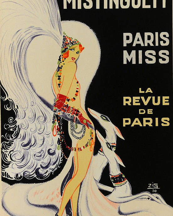 Zig Poster featuring the painting Mistanguette At The Casino De Paris by Zig