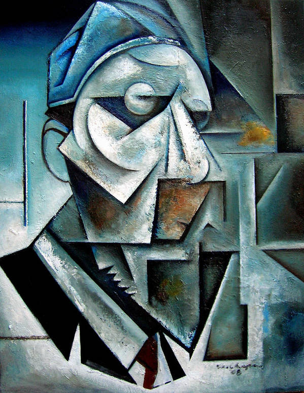 thelonious Monk Jazz Piano Cubist Portrait Poster featuring the painting Misterioso by Martel Chapman