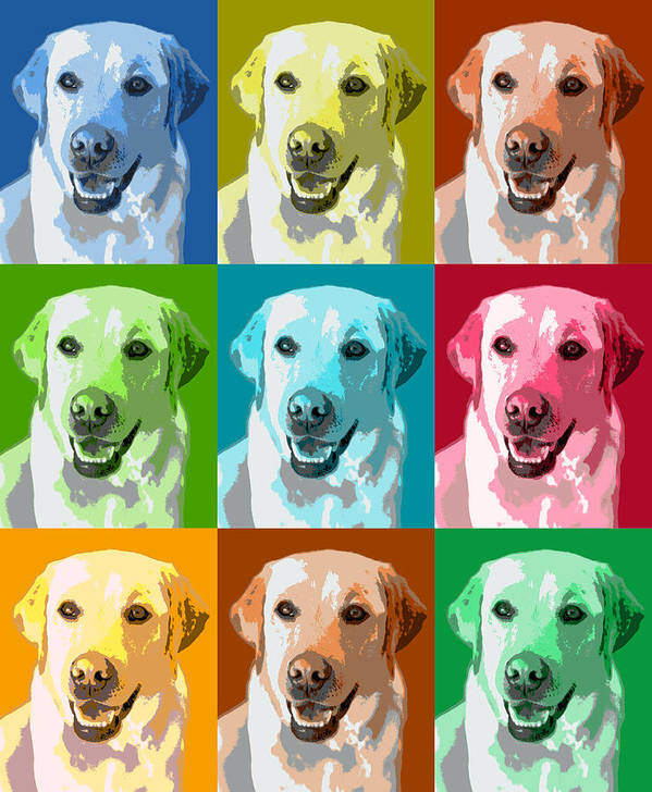 Americana Poster featuring the photograph Golden Retriever Warhol by Marilyn Hunt