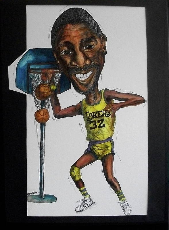 Magic Johnson Poster featuring the mixed media Mj Caricature by Michelle Gilmore