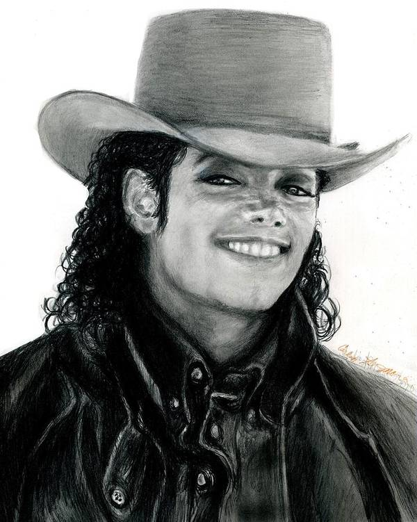 Michael Jackson Poster featuring the drawing Mj Ranch Style by Carliss Mora