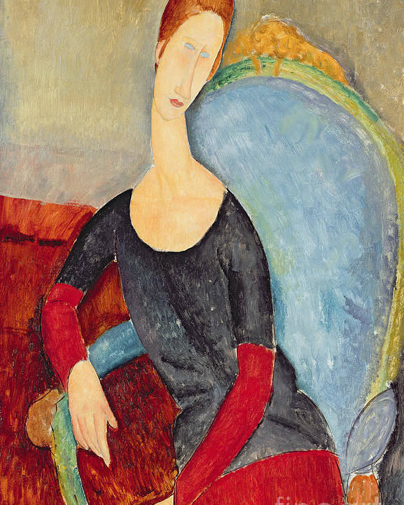 Mme Hebuterne In A Blue Chair Poster featuring the painting Mme Hebuterne In A Blue Chair by Amedeo Modigliani