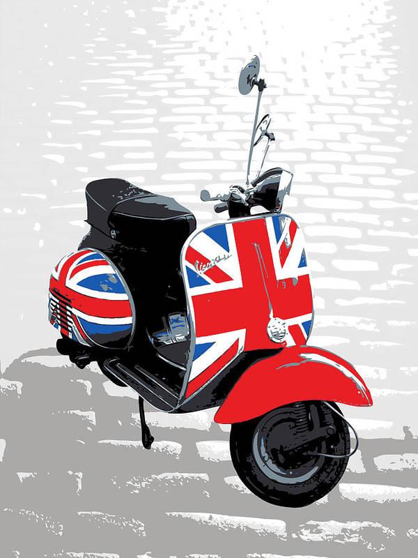 Vespa Poster featuring the digital art Mod Scooter Pop Art by Michael Tompsett