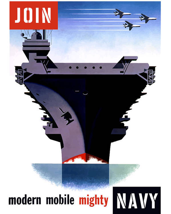 Ww2 Poster featuring the painting Modern Mobile Mighty Navy by War Is Hell Store