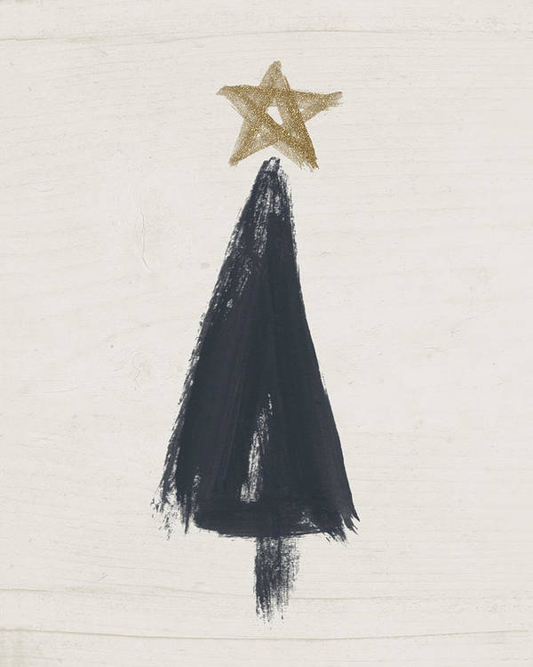 Contemporary Poster featuring the painting Modern Primitive Black And Gold Tree 3- Art By Linda Woods by Linda Woods