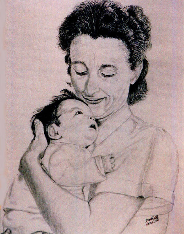 Modona Poster featuring the drawing Modona and Baby by Stan Hamilton
