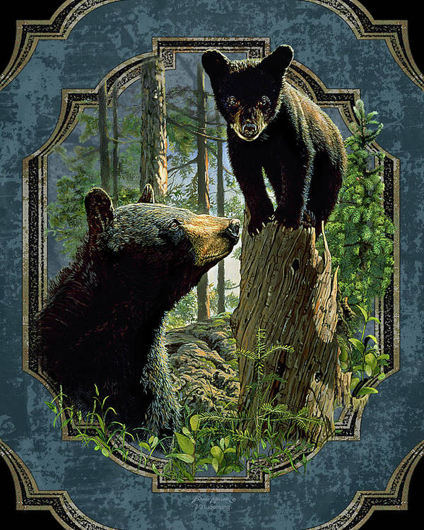 Bruce Miller Poster featuring the painting Mom And Cub Bear by JQ Licensing
