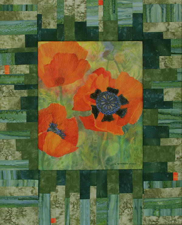 Poppies Poster featuring the mixed media Mom's Poppies by Lauren Everett Finn