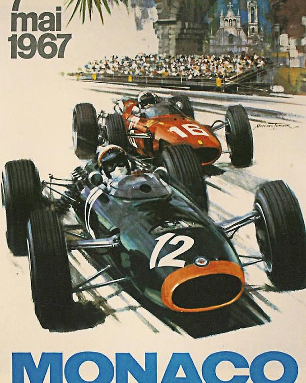 Monaco Grand Prix Poster featuring the digital art Monaco Grand Prix 1967 by Georgia Fowler